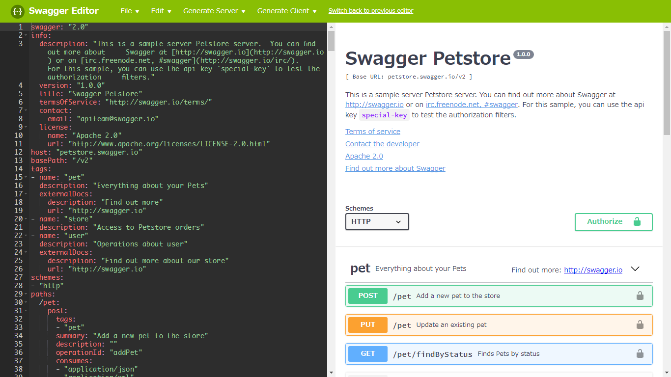 Swagger editor